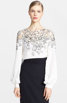Oscar de la Renta Embroidered Silk Blouse available at #Nordstrom