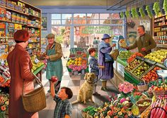 Village Grocer - Jigsaw Puzzle by Vermont Christmas Company New Puzzle, Puzzle Art, Puzzle 1000, Retro, Grafiti, 5d Diamond Painting, Norman Rockwell, 1000 Piece Jigsaw Puzzles, Vintage Art