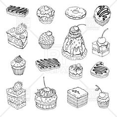 Set of cute outline cakes, 45437, download royalty-free vector clipart (EPS)