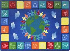 """One World© Classroom Circle Time Rug, 7'8"""" x 10'9"""" Rectangle Primary"""