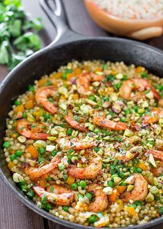 One Pot Couscous with Shrimp and Peas - Jo Cooks