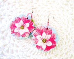 Wooden earringsflower dangle earringshand painted by GattyGatty, $15.00