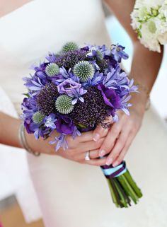 Purple bridal bouquet by Beautiful Booms {Photo: Marie Labbancz}