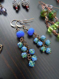 Boucles d'oreilles grappe  Verre de Bohème  Bleu par SamarkandFR