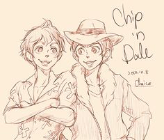 Chip 'n Dale by *chacckco on deviantART - non-human Disney characters, if they were human