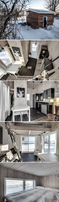A 216 sq ft cabin in Quebec. A 21 sqm cottage in Quebec. A 21 sqm cottage in Quebec.A 300 sqm small house with an entertainment sqm Ft. Backyard Tiny House from New Avenue Home Tyni House, Tiny House Cabin, Tiny House Living, Tiny House Plans, Tiny House Design, Living Room, Tiny House Movement, Outdoor Pavillion, Best Tiny House