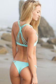 Cutest bathing suits! A little pricy but great quality! New favorite! Frankie's Bikinis 2014 - Luna Bikini Top / Blue - $92