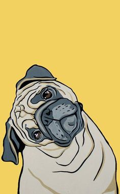 A fitting choice for the sofa of any pug lover. Decorative square cushion cover, featuring a unique and detailed illustration of a pug tilting its head. Art And Illustration, Wallpaper Pug, Pug Art, Photo Portrait, Pug Love, Dog Portraits, Cute Wallpapers, Wallpaper Wallpapers, Cute Dogs