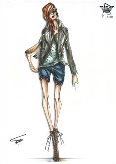 Fashion sketches from the Armani + Rihanna Capsule Collection