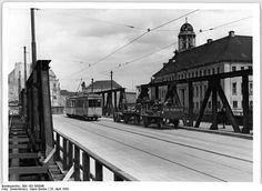 1950 Muehlendammbruecke mit Strassenbahn