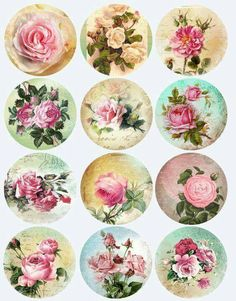 Items similar to Antique ROSES Circle microslides - inch circles - digital collage sheet - pocket mirrors, tags, scrapbooking, cupcake toppers on Etsy Decoupage Vintage, Decoupage Paper, Vintage Paper, Bottle Cap Art, Bottle Cap Crafts, Bottle Cap Images, Diy Bottle, Vintage Labels, Vintage Ephemera