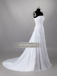 Esküvői ruha csípőtől bővülő ujjatlan-CBU-7160 Beautiful Gowns, One Shoulder Wedding Dress, Wedding Dresses, Fashion, Pretty Dresses, Bride Dresses, Moda, Cute Dresses, Bridal Gowns