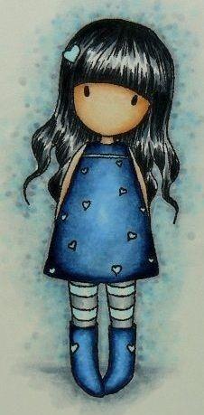 Gorjuss girl: love the colouring of the hair Digi Stamps, Copic, Rock Art, Cute Art, Paper Dolls, Painted Rocks, Decoupage, Art Drawings, Little Girls