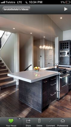 I like the lights, wine rack above microwave, and floor and wood