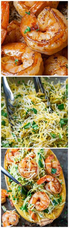 Pesto Parmesan Shrimp Spaghetti Squash - quick, easy, and perfect for weeknight dinners! GF