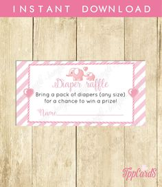 New to TppCardS on Etsy: Instant Download Elephant Theme Baby Shower Diaper Raffle Cards for Girl Printable Baby Shower Raffle Sheets Baby Girl Pink Elephan (2.00 EUR)
