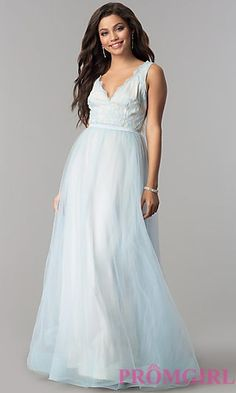 9dec3b122c7 Lace-Bodice Long Tulle V-Neck Prom Dress