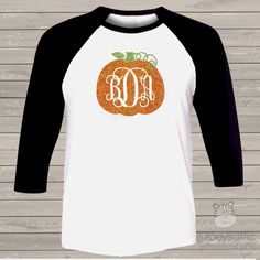 monogram glitter shirt, sparkly pumpkin adult raglan baseball shirt