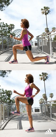 Lunge for greatness.  Start by extending into a deep lunge then pushing yourself upright and raising your leg until your thigh is parallel to the ground.  Experience a BOOST of energy in every movement with PureBOOST X. The STRETCHWEB outsole will help maintain balance and stance, adaptable to all surfaces and workouts.  Click through to get your training started in PureBOOST X.