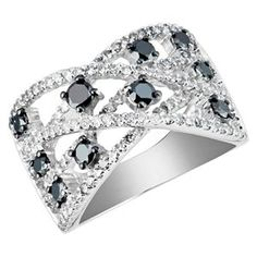 1 CTW Round Black And White #Diamond Fashion Cocktail Ring in 14K #White Gold