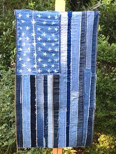 Denim Flag American Flag vintage denim US flag USA by artbya Picnic Blanket, Outdoor Blanket, Flag Patches, Usa Flag, Needle And Thread, Fabric Art, Vintage Denim, American Flag, Sewing Projects