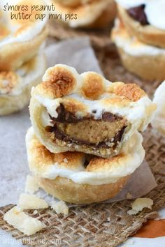 These S'mores Peanut Butter Cup Mini Pies are the deliciousness of a s'mores, smacked with a peanut butter cup, and stuffed inside a pie. I dare you to only eat one!