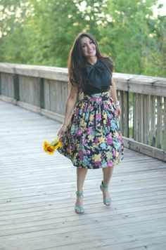 Loving this Floral midi skirt and bow tie top:-)