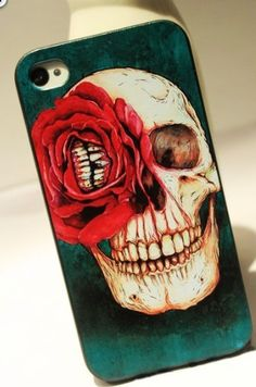 Red Flower Skull Hard Cover Case For Iphone 4/4s