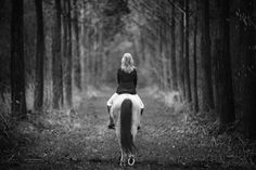 Horse riding in the woods