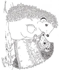 Jan Brett coloring pages: Hedgie Makes a Hedgehog Snowman