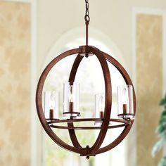 Millwood Pines Bear 4-Light Globe Chandelier | Wayfair Globe Chandelier, Ceiling Lights, Make A Table, Lights, Wood Orb Chandelier, Pendant Light, Living Room Lighting, Chandelier, Globe Lights