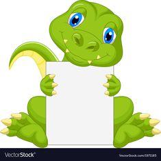 Cute dinosaur cartoon holding blank sign vector image on VectorStock Dinosaur Images, Dinosaur Pictures, Cute Dinosaur, Cartoon Dinosaur, Boarder Designs, Page Borders Design, Cartoon Cartoon, Boarders And Frames, Dinosaur Illustration