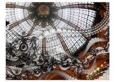 Paris Photography, Galeries Lafayette, Copula, Stained Glass, Architecture, octopus, fractal, paris wall art, architecture art decor