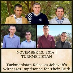 "Turkmenistan - On October 22, 2014, President Berdimuhamedov amnestied eight of Jehovah's Witnesses who were imprisoned in Turkmenistan for practicing their faith. For more on this, please visit JW.org > Newsroom > Legal Development > By Region > Asia > Turkmenistan > ""Turkmenistan Releases Jehovah's Witnesses Imprisoned for Their Faith."" ༺"