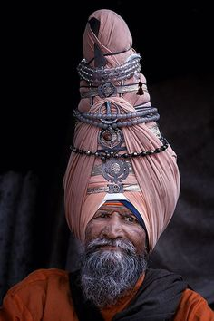The giant wrapped turbans of traditional Sikh warriors of northern India