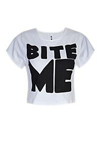 It's You To The Tee collection Bite Me Crop Top from Mr Price Mr Price Clothing, Kids Fashion, Crop Tops, Denim, Lady, Tees, T Shirt, Shopping, Clothes