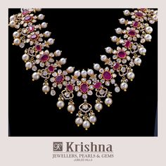 Exclusive Ruby Polki necklace enhances the Feminine royalty handcrafted in yellow gold South sea pearls Rubies uncut diamonds. For inquiries contact on WhatsApp 05 July 2019 Gold Earrings Designs, Gold Jewellery Design, Cz Jewellery, Latest Jewellery, Vintage Jewellery, Antique Jewelry, Ruby Jewelry, Gold Jewelry, Diamond Jewelry