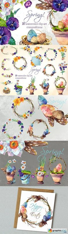 Spring!- 18 watercolors clip arts  stock images