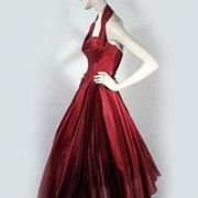 Early 1950s Red Silk Gown - Candy Shiveley,contentmentfarmantiques.com