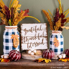 fall decor ideas for the porch outdoor spaces Buffalo Check Mason Jar Vases Explore DIY fall decorations ideas for home. Learn how to deco Pot Mason Diy, Fall Mason Jars, Mason Jar Vases, Mason Jar Crafts, Autumn Crafts, Thanksgiving Crafts, Thanksgiving Decorations, Fall Decorations, Spring Crafts