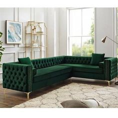 Inspired Home Green Corner Sectional Sofa Design: Giovanni Right Facing Velvet Storage Metal Legs Tufted Design Living Room Sofa Design, Living Room Furniture Layout, Sofa Furniture, Living Room Interior, Living Room Designs, Living Room Decor, Furniture Design, Corner Sofa Design, White Furniture