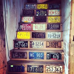 licence plate crafts | License plate staircase | crafts