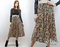 #Vintage #90s Soft #Grunge Black #Floral #Midi #Skirt, fits L/XL by #shopEBV http://etsy.me/16JMurx via @Etsy #softgrunge #90sfashion #style