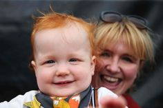 Charlie Twomey, winner of the bonny baby award at the 2016 irish redhead convention | crosshaven, ireland |  foto: brian lawless Celtic Baby Names, Irish Redhead, The Guardian, Redheads, Red Hair, Beautiful People, Colours, Celebrities, Children