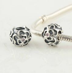 CLLW131 925 Sterling Silver Flower Crystal Pandora beads Screwed Core on sale,for Cheap,wholesale
