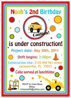 Dump Truck Under Construction Party Invitations idea