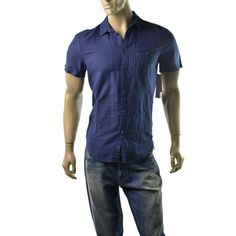 8e6eff6cc0 Calvin Klein Shirt Mens Linen Button Up Size M Modern Fit Navy Blue T Shirts  NEW