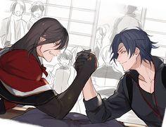 Izuminokami Kanesada - Shokudaikiri Mitsutada  : «イケメンが腕相撲してる下書きを発掘したので描きました»