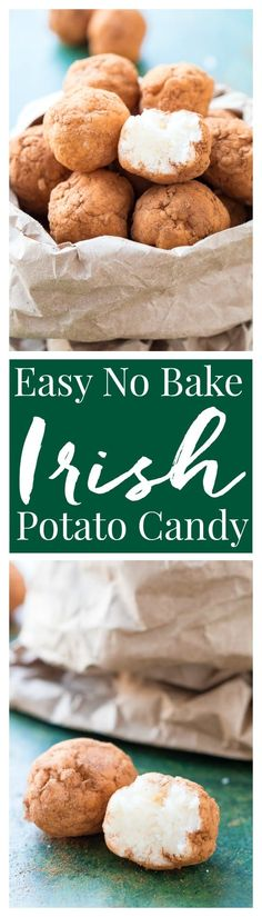 This Irish Potato Candy is perfect for celebrating St. Patrick's Day with! Made from butter, coconut, cream cheese, sugar, and cinnamon and they look like baby potatoes!