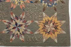 Quilt, detail, Star of Bethlehem pattern variation, ca 1837-50